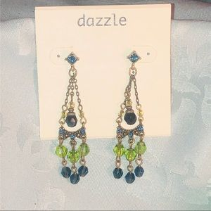 NWT Nordstrom Dazzle green blue crystal earrings